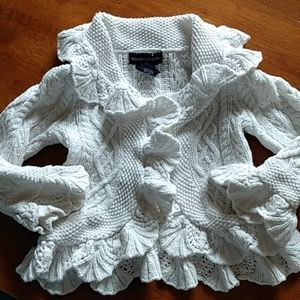 Ralph Lauren White Ruffle Sweater